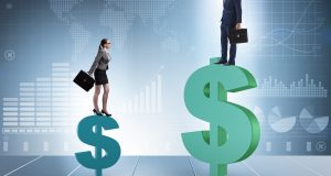 Concept of inequal pay and gender gap between man woman