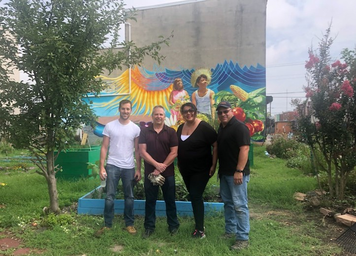 PSE&G employees recently volunteered with Hopeworks at Esperanzas Community Garden in Camden picking up trash, refilling water sources, pulling weeds and planting. Pictured from left, Dennis Conn, principal staff engineer, PSE&G Audubon Gas; Dom Carfagno, service supervisor, PSE&G Audubon Gas; Addie Colon, PSE&G regional public affairs manager; and Victor Perez, corrosion technician, PSE&G Burlington Gas.
