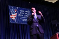 U.S Sen. Cory Booker addressing attendees at the New Jersey State Democratic convention shortly before House Speaker Nancy Pelosi's evening appearance Sept. 27 New Jersey State Democratic convention.