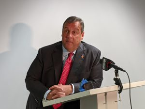 Former New Jersey Gov. Chris Christie at the Institute of Public Policy lecture, held at the Seton Hall Law School in Newark on Sept. 26. - Daniel J. Munoz