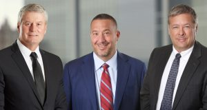 From left, McCarter & English's Michael Kelly, outgoing chairman; Joseph Boccassini, managing partner; and Jospeh Lubertazzi Jr., incoming chairman.