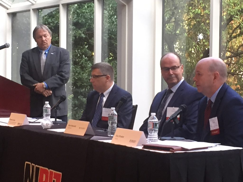 John Kennedy, CEO of the New Jersey Manufacturing Extension Program, moderates an NJBIZ panel discussion on manufacturing in New Jersey on Sept. 24, 2019 with, from left, Robert Grote of Grassi & Co., Rob Hassold of Cimquest and Eric Probst of Porzio, Bromberg & Newman.