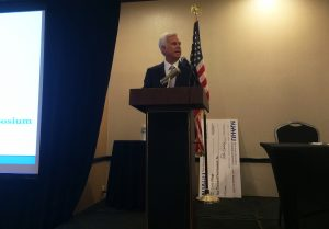 George Norcross addresses attendees at the State of the State Symposium in Iselin, sponsored by the New Jersey Association of Health Underwriters. - ANTHONY VECCHIONE