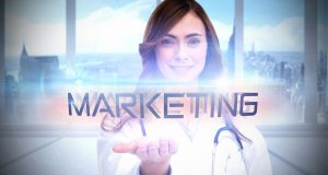 The word marketing and portrait of female nurse holding out open palm against bright white room with windows