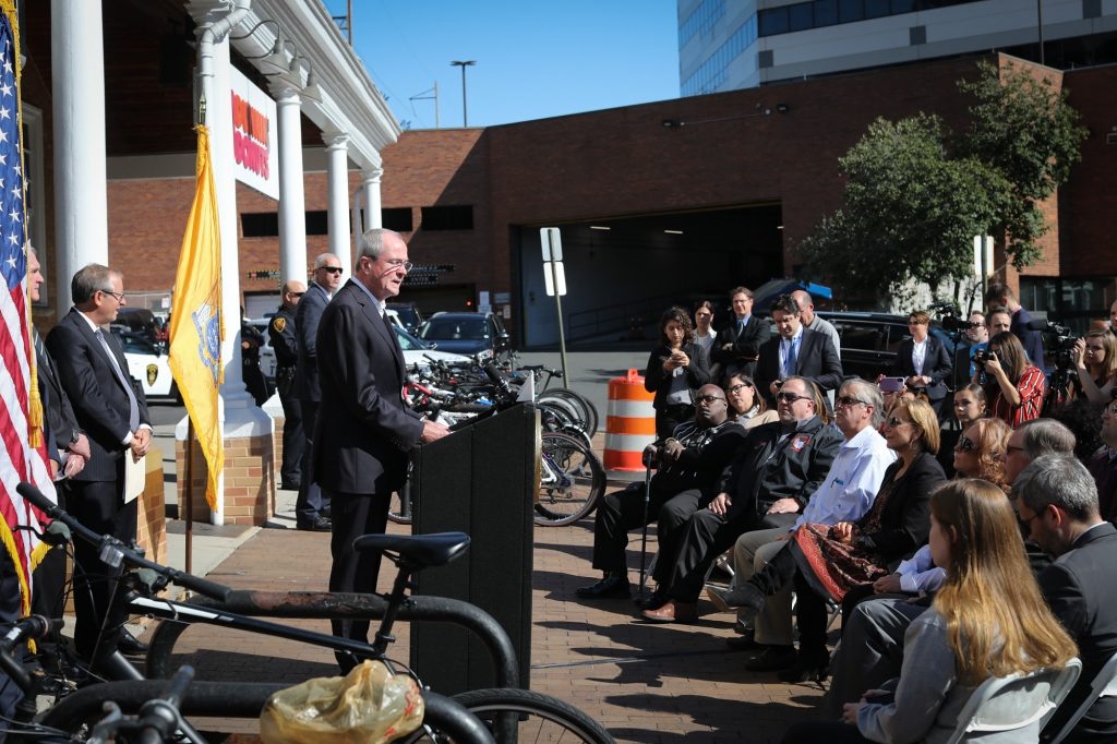 Gov. Phil Murphy announces construction will begin at four New Jersey train stations as a result of a renewed partnership between New Jersey Transit and Amtrak at the New Brunswick Train Station on Oct. 15, 2019.