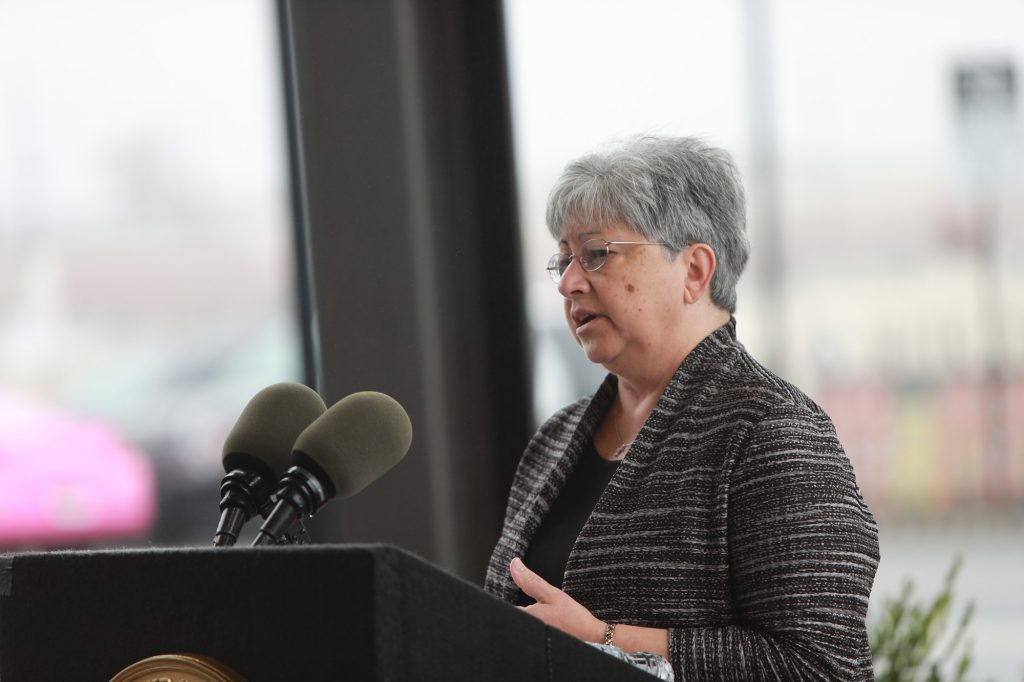 New Jersey Transportation Commissioner Diane Gutierrez-Scaccetti speaks on Oct. 30, 2019 during the announcement of a Memorandum of Understanding providing for the design and construction of a train station at the Transit Village along the Northeast Corridor in North Brunswick.