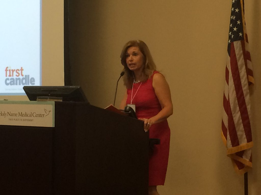 Alison Jacobson,CEO of First Candle, speaks at theThe Impact of Implicit Bias and Social Determinants on Infant Mortality roundtable discussion held at Holy Name Hospital on Oct. 2, 2019.