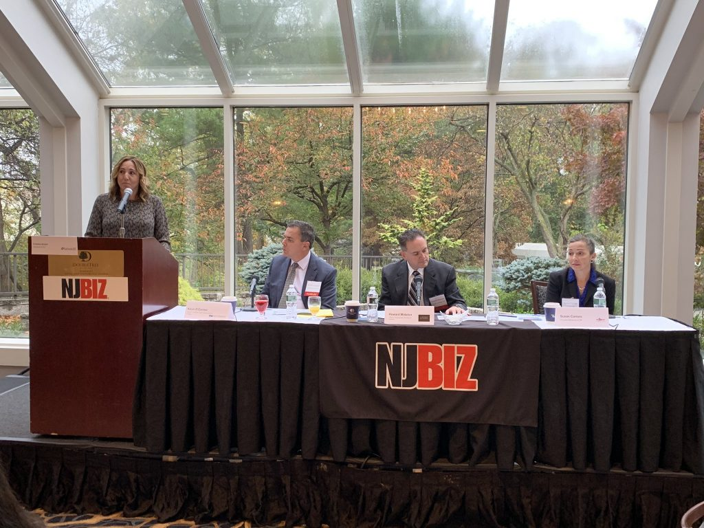 From left, Christina Amyot, president and CEO, EnformHR moderates the NJBIZ Workplace Discrimination panel discussion on Oct. 29, 2019 featuring panelists Kevin O'Connor, partner, co-chair, Labor and Employment Practice, Peckar & Abramson PC; Howard Matalon, partner, Employment Practices and Litigation, Olender Feldman LLP; and Susan Carrero, president and human resources, 7 Star HR a Division of Triton Benefits & HR Solutions.