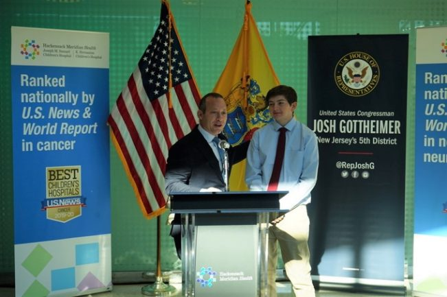 U.S. Rep. Josh Gottheimer with Sean O'Malley at Hackensack Meridian Health Joseph M. Sanzari Children's Hospital in Hackensack to announced the Fairness to Kids with Cancer Act on Oct. 15, 2019.