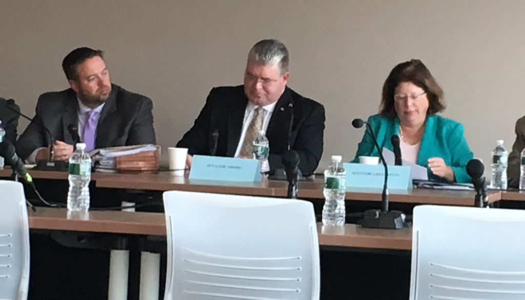 From left, Christopher Emigholz, senior staffer; Sen. Steve Oroho; and Sen. Linda Greenstein particpate in a Manufacturing Caucus Hearing at Rowan College at Burlington County on Oct. 25, 2019.