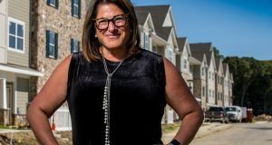 Jennifer Dubrow Weiss, CEO, Jewish Federation of Southern New Jersey, at Weinberg Commons (under construction) in Cherry Hill. - AARON HOUSTON