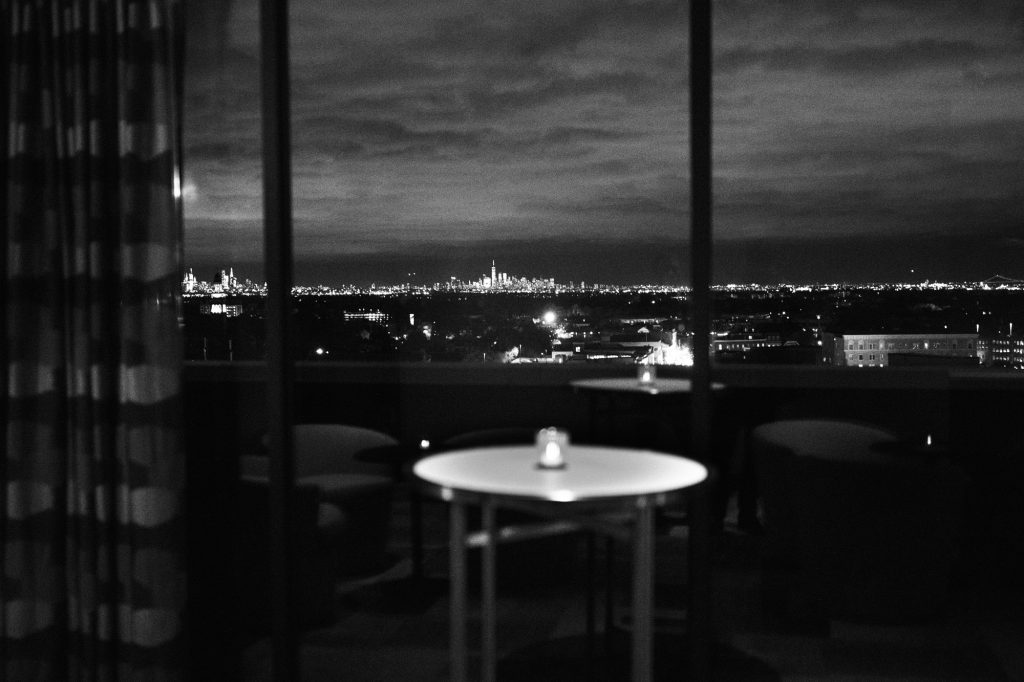The NYC skyline view from the Hampshire Room at the MC Hotel in Montclair.