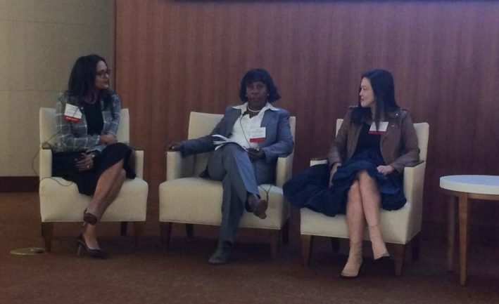 From left, PinkRose Hamilton, Anne Goodwill Pritchett and Diana Lee take part in the Executive Panel Discussion at the Women of Color event held Oct. 8, 2019 in Neptune.