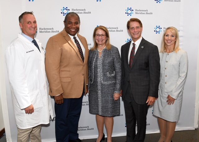 From left, Dr. Eric Costanzo; Dr. Herb Conaway, HMH chair of assembly health and senior services committee; acting Health Commissioner Judith Persichilli; Robert Garrett, HMH president and CEO; and Valerie Harr, director of community health for Horizon, announce the Take Vape Away campaign on Oct. 10, 2019. - HACKENSACK MERIDIAN HEALTH