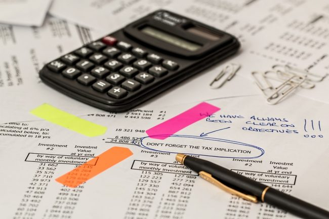 Tax and accounting photo with calculator