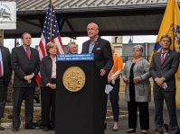 Gov. Phil Murphy announces restoration of direct, off-peak service on the New Jersey Transit Raritan Valley Line to New York Penn Station in Westfield on Oct. 14, 2019.