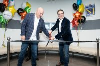 OwnBackup's Charles Johnston, vice president, sales, North America, and CEO Sam Gutmann cut the ribbon at the company's new Englewood Cliffs headquarters on Oct. 20, 2019.