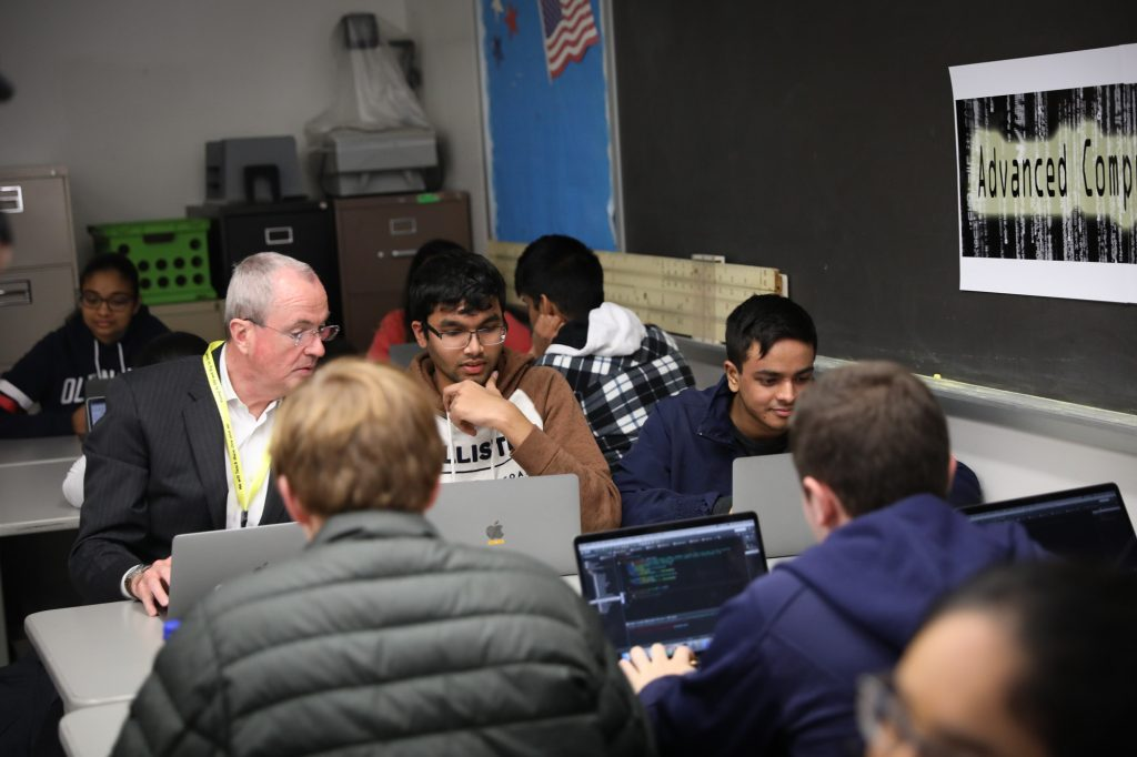 Gov. Phil Murphy announces a five-point Computer Science for ALL State Plan and Fiscal Year 2020 Funding Opportunities at Bridgewater-Raritan High School on Nov. 4, 2019.