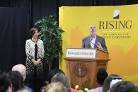 Rowan University alumni Ric and Jean Edelman announce a $10 million gift to fund scholarships for students in the College of Communication & Creative Arts. The gift is the largest single gift for scholarships in Rowan's history. - ROWAN UNIVERSITY