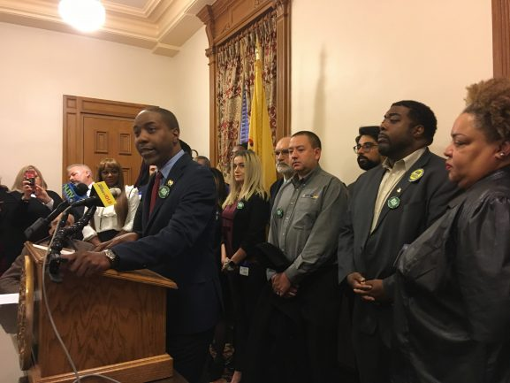 Assemblyman Jamel Holley speaks in the State House about the 94 arrests each day in New Jersey for low-level cannabis possession.