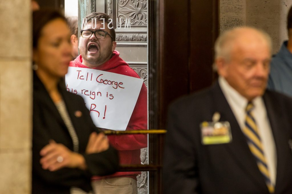 Protesters outside during the Seneate Select Committee on Economic Growth Strategies in Trenton on Nov. 18, 2019.