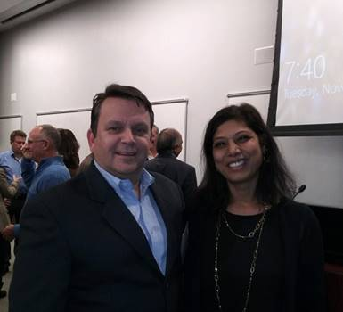 TechLaunch Senior Mentor Cristian Ossa with eMedEvents Co-Founder and CEO Priya Korrapati at Monmouth University on Nov. 20, 2019 for TechLaunch BullPen No. 15.