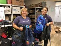 Luciann Acquafredda and Nancy Eda of Cross River participate in the School Supply Sorting Drive on Aug. 22 at Jersey Cares' headquarters in Livingston. The nonprofit organization recruits and matches volunteers to fulfill community needs through partnerships with local nonprofits.