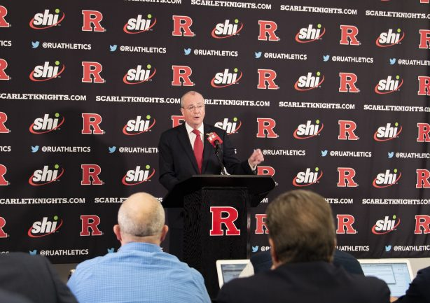 Gov. Phil Murphy speaks at the Hale Center on the Rutgers Piscataway campus on Dec. 4, 2019 as the university welcomes Greg Schiano as the Scarlet Knights' new football coach.