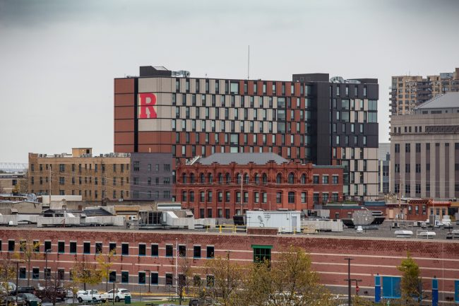 Rutgers University featured in the Camden skyline.