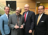 From left, HINJ Board Chair Alex Kelly; Professor Jay Tischfield with his 2019 HINJ Research Recognition Award, Rutgers University-New Brunswick Chancellor Christopher Molloy and HINJ President and CEO Dean Paranicas. - HEALTHCARE INSTITUTE OF NEW JERSEY