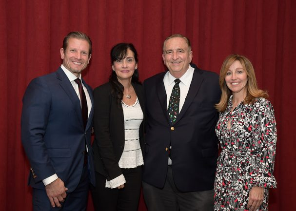 From left, Rider University board of trustees Chairman Rob Schimek '87, Phyllis Wasniewski, Rider assistant professor Barry Ashmen '69, '70; and Janet Schimek. - RIDER UNIVERSITY