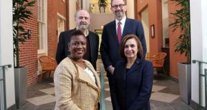 Clockwise from back left, Frederick Brand, director of corporate and foundation relations, TESU; John Thurber, vice president for public affairs, TESU; Nelida Valentin, vice president of grants and programs for the Princeton Area Community Foundation; and Barbara George Johnson, executive director, The John S. Watson Institute for Public Policy. - THOMAS EDISON STATE UNIVERSITY