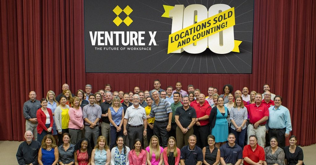 Venture X celebated selling more than 100 locations in July 2019.