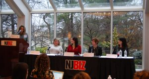 Amrit Walla, regional managing director at Wells Fargo, moderates a panel discussion titled Cultivating Success: During the Climb and After, at the NJBIZ Women in Business Symposium on Dec. 17, 2019 in Somerset. Panelists were: Laura Matos, general manager-NJ at Kivvit; Jennifer Phillips Smith, director, Real Property Department at Gibbons PC; Judith Sheft, associate vice president, Strategic Relationships and External Affairs at the New Jersey Innovation Institute; and Stacey Roman, senior vice president, wealth advisor at Wells Fargo.