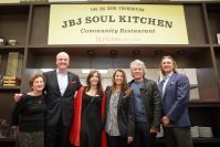 Gov. Phil Murphy attends the opening of JBJ Soul Kitchen at Rutgers-Newark on Jan. 22, 2020. From left, Rutgers-Newark Chancellor Nancy Cantor, Murphy, First Lady Tammy Murphy, Dorthea Bonjiovi, Jon Bon Jovi, and Gourmet Dining President Michael Frungillo.