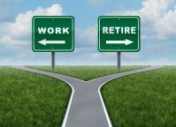 Work or retire as a concept of a difficult decision time for working or retirement as a cross roads and road sign with arrows showing a fork in the road representing the concept of direction when facing a challenging life choice.