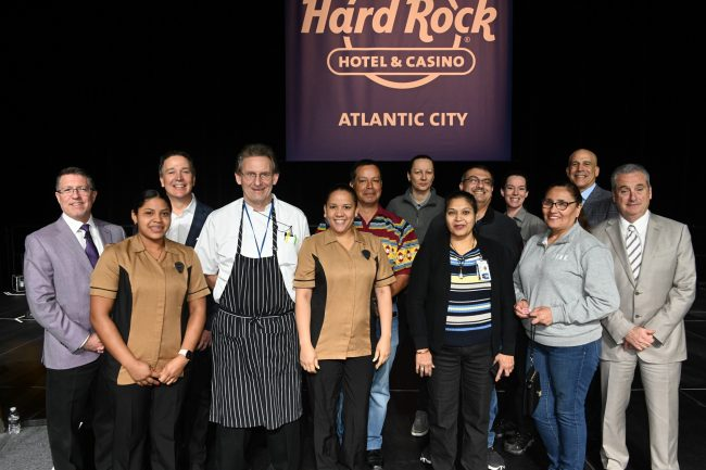 Hard Rock Atlantic City team members who won cash and prizes on Jan. 16, 2020 during the morning Town Hall Meeting alongside the leadership team in attendance.