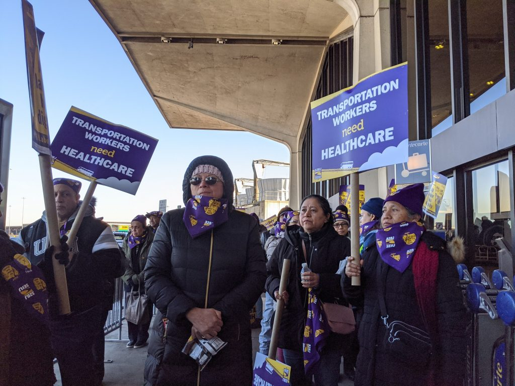 32BJ of the Service Employees International Union organized a rally at Newark International Airport on Jan. 22, 2020, in support of a bill that would prove money to certain Port Authority workers so that they are able to purchase health insurance.