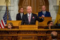 Gov. Phil Murphy delivers his State of the State address in Trenton on Jan. 14, 2020. - AARON HOUSTON