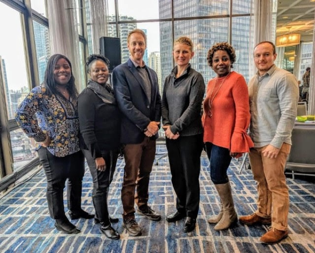 From left, Nicole Vaughn, Rowan University; Koren Norwood, Camden County Department of Health and Human Services; Jonathan Wetstein, Parkside Business and Community in Partnership (PBCIP); April Schetler, Virtua Health; Bridget Phifer of PBCIP; and Greg Mayers, Virtua Health. - VIRTUA HEALTH