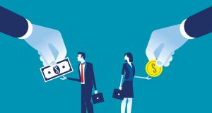 Salary Different for employee. Concept business vecto rillustration, Currency, Coin, Banknote