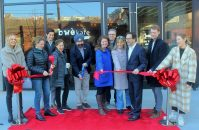 Joining Hoboken Mayor Ravinder Bhalla to celebrate the opening were owners of Bwé Kafe, Little City Books and Park & Bloom, representatives of developer Bijou Properties and other municipal and business leaders on Jan. 15, 2020. - CAHN COMMUNICATIONS