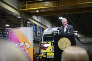 Gov. Phil Murphy attends New Jersey Transit's engineer completion of formal training ceremony in Kearny on January 21, 2020.