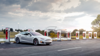 A Telsa Model S and Supercharger in Arlington, Texas.