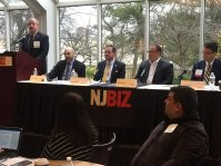 Michael Geraghty, New Jersey's chief information security officer moderates an NJBIZ discussion on cybersecurity with panelists, from left, Dominic Genzano, CEO of Secure Technology Integration Group; Timothy Guim, president and CEO of PCH Technologies; Carl Mazzanti, president of eMazzanti Technologies; and John Wolak, chair of the Privacy and Data Security Team at Gibbons PC on Feb. 25, 2020. - JEFFREY KANIGE