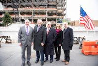 From left, New Jersey Senate President Stephen Sweeney; Jefferson New Jersey Division President and Jefferson Health Chief Experience Officer Joseph Devine; Jefferson Health New Jersey Hospital board of trustees Vice Chairman John Silvestri; Washington Township Mayor Joann Gattinelli; Jefferson Washington Township Hospital Chief Administrative Officer John Graham attend the topping off ceremony for Jefferson Washington Township Hospital's new patient tower, scheduled to open in summer 2021, on Feb. 20, 2020.