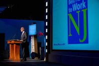NJBIZ Publisher Ken Kiczales takes the state at the 2019 Best Places to Work Awards at iPlay America in Freehold.