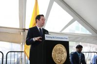Mayor Steven Fulop speaks at an event highlighting early construction on Hudson-Bergen Light Rail West Side Avenue Branch expansion in Jersey City on March 3, 2020.