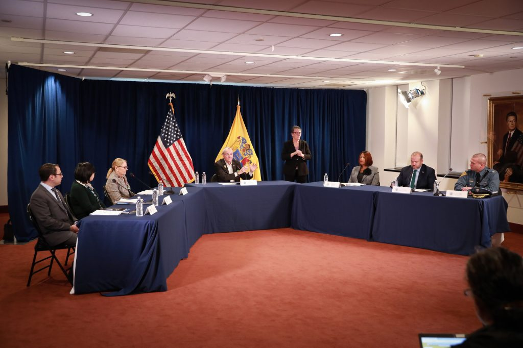 Gov. Phil Murphy holds a coronavirus briefing in Trenton on March 17, 2020.
