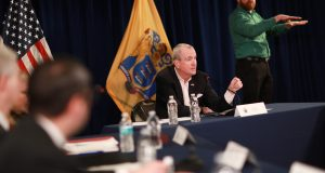 Gov. Phil Murphy holds a coronavirus briefing in Trenton on March 18, 2020.